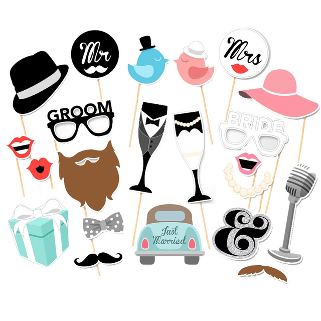 Us 388 22 Offwedding Photo Booth Props Party Funny Mask Diy Mr Mrs Bride Groom Photobooth Bridal Shower Decoration Just Married Centerpieces In