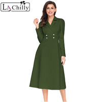 La Chilly Robe Hiver 2018 Winter Dresses Women Black Vestido Vintage Button Collared Fit and flare Long Sleeve Dress LC61803