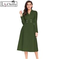 La Chilly Robe Hiver 2018 Winter Dresses Women Black Vestido Vintage Button Collared Fit And Flare