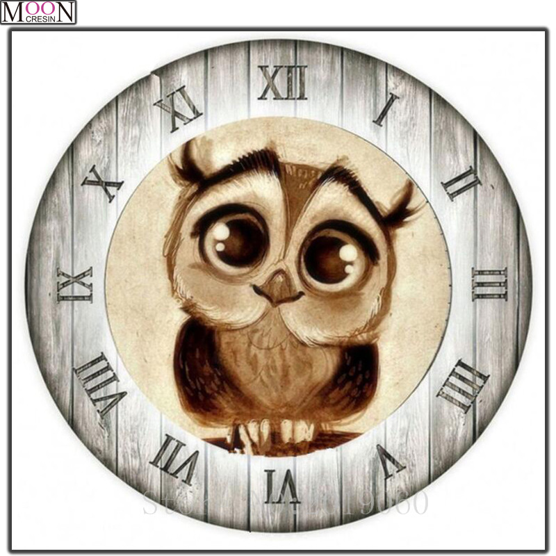 DIY Diamond Painting Cross Stitch Owl Clock Christmas Gifts Diamond Mosaic Square Full Drill Diamond Embroider Decoration Animal in Diamond Painting Cross Stitch from Home Garden