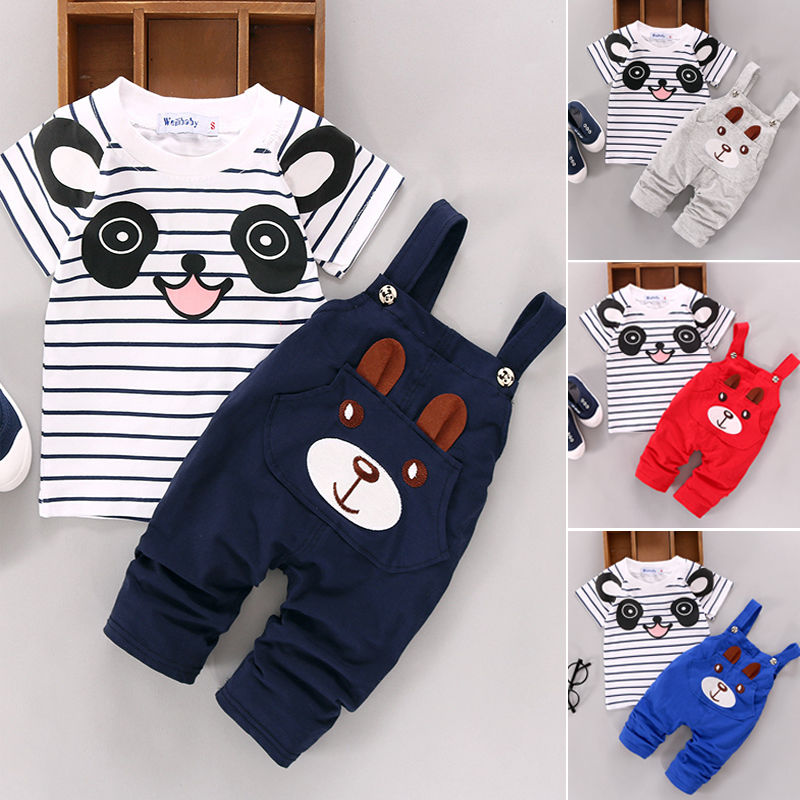 2019 Toddler Infant Newborn Summer Baby Girls Boy Clothes Short Sleeve Bear Overalls Suit Outfits 2pcs