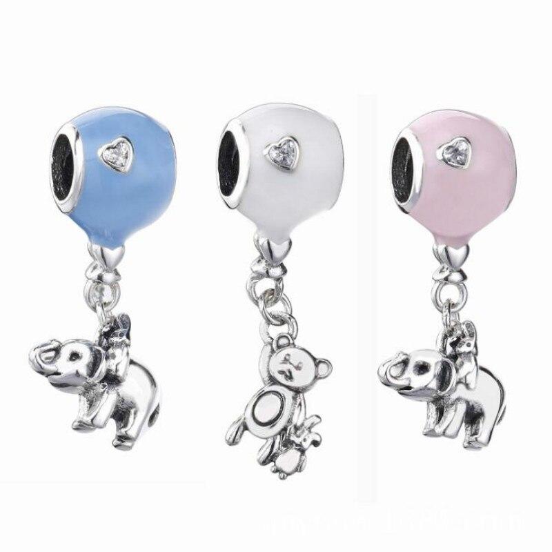 925 sterling silver 2018 The New animal Cute Enamel balloon Pendant bead Fits Pandora Charm Bracelets female DIY Jewelry making