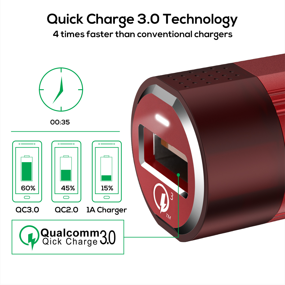TOPK Mini Car Charger 18W Quick Charge 3.0 Car-Charger For Samsung Xiaomi Huawei LG Mobile Phone Charging Cable