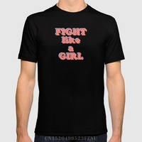 Spring Summer Time Limited T Shirt Men Fight Like A Girl Short O Neck Casual Cotton