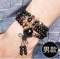 New Fashion 6mm Black agate Yellow crystal Tibetan Buddhist 108 Prayer Beads Necklace Gourd mala Prayer Bracelet for Meditation