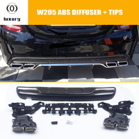C43 4 outlet Style PP Rear Bumper Diffuser with Exhaust Tips for Benz W205 C180 C200 C300 C43 With Amg Package 4 Door Sedan 15+