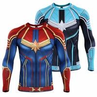 Captain Carol Danvers T Shirt Superhero 3D Printed Long Sleeve T shirts Fitness Men Compression Shirt Tops