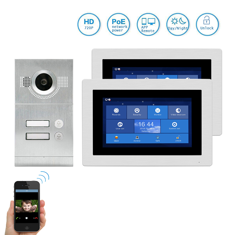 Free Shipping 1 0MP HD WIFI IP Apartment 7 Video Intercom Door Phone Record Kit 2