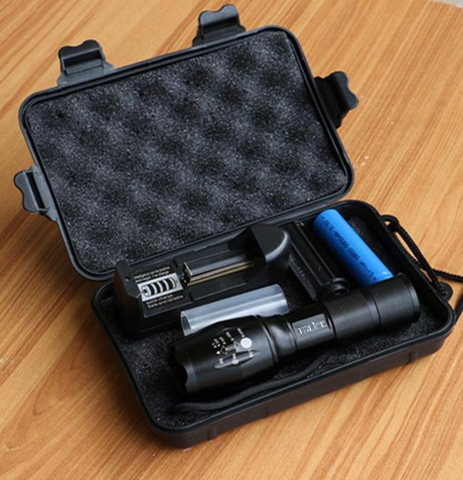10000LM LED Senter T6 / L2 / V6 5 Mode LED Torch Zoom Luar Senter Taktis + 18650 baterai + Charger + Kotak Hadiah untuk Berkemah