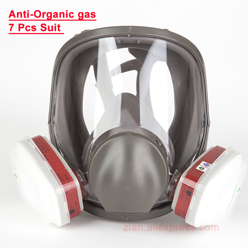 7 in 1 Gas Mask 6800 Chemical Full Face Painting Spraying Respirator For Work Anti-gas Respirator Support 6001/6002/6003 Filters