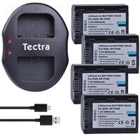 4Pcs 2000mAh NP FH50 NP FH50 Camera Batteries +Dual USB Charger for Sony A230 A330 A290 A390 DSC HX1 HX100 HDR TG1E TG3 TG5 TG7