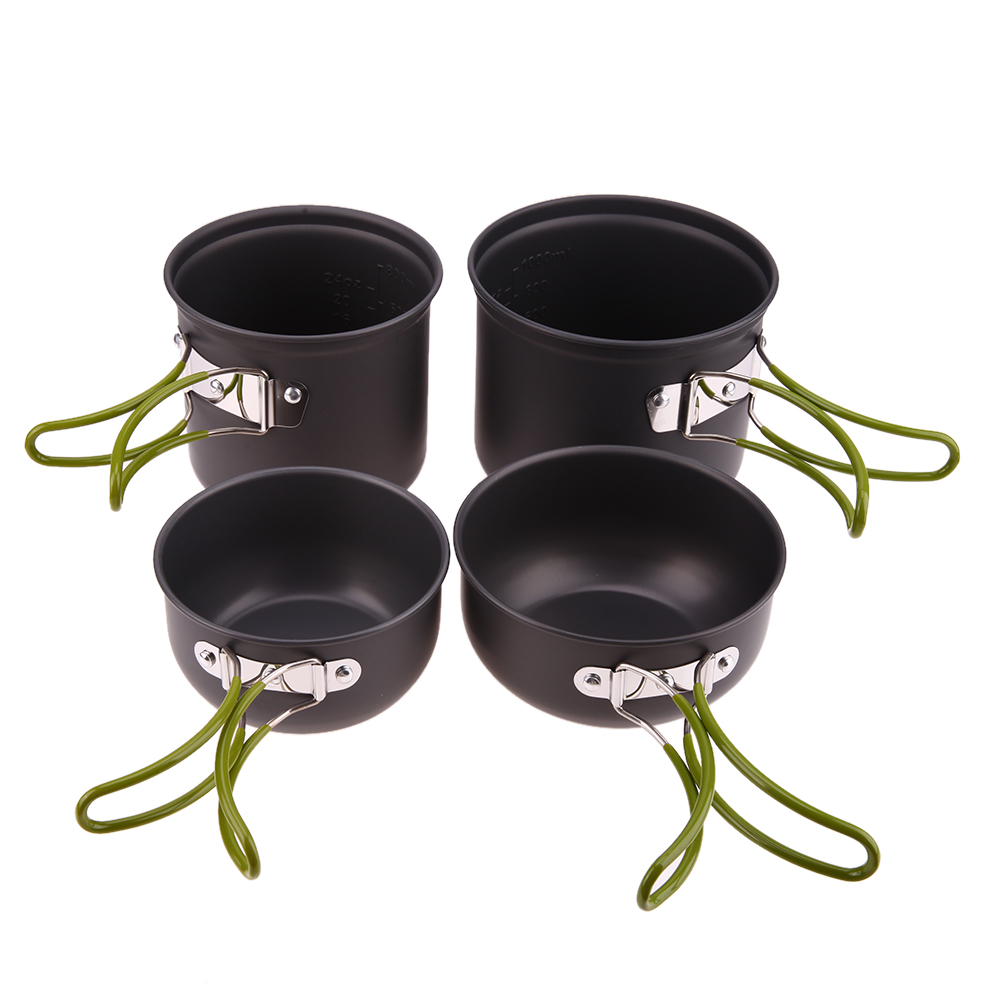 4 in 1 Camping Pot Sets For 2-3 Persons Pots Pans Bowls with Lids Non-stick Cookware Set Outdoor Cooking Set with Folding Handle
