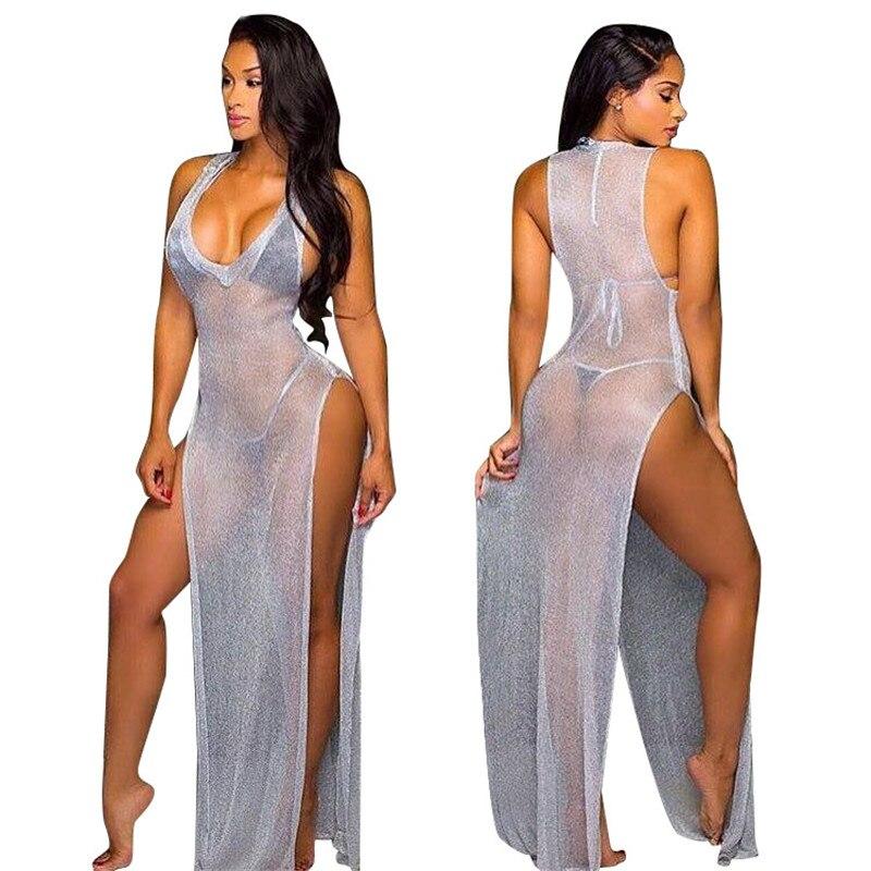 2017 Women Sexy Gray Mesh Maxi Dresses See Through Dress V