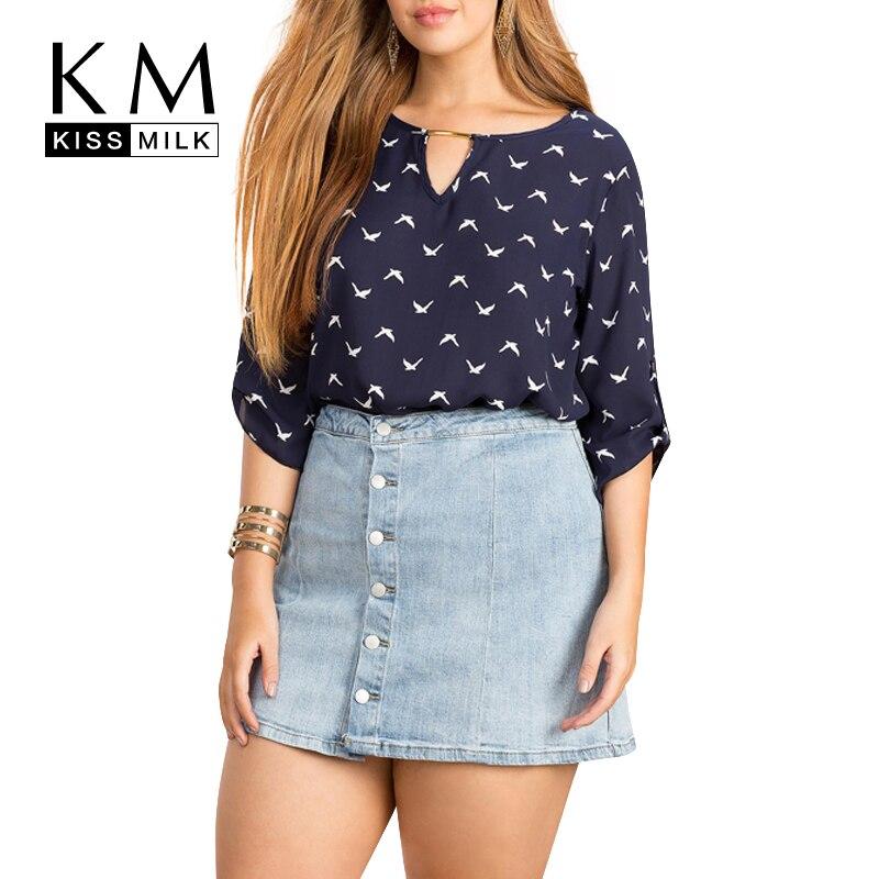 Kissmilk 2018 प्लस साइज वुमन समर फैशन बर्ड प्रिंट कट आउट शर्ट्स कैजुअल लूज हाफ स्लीव शिफॉन ब्लाउज
