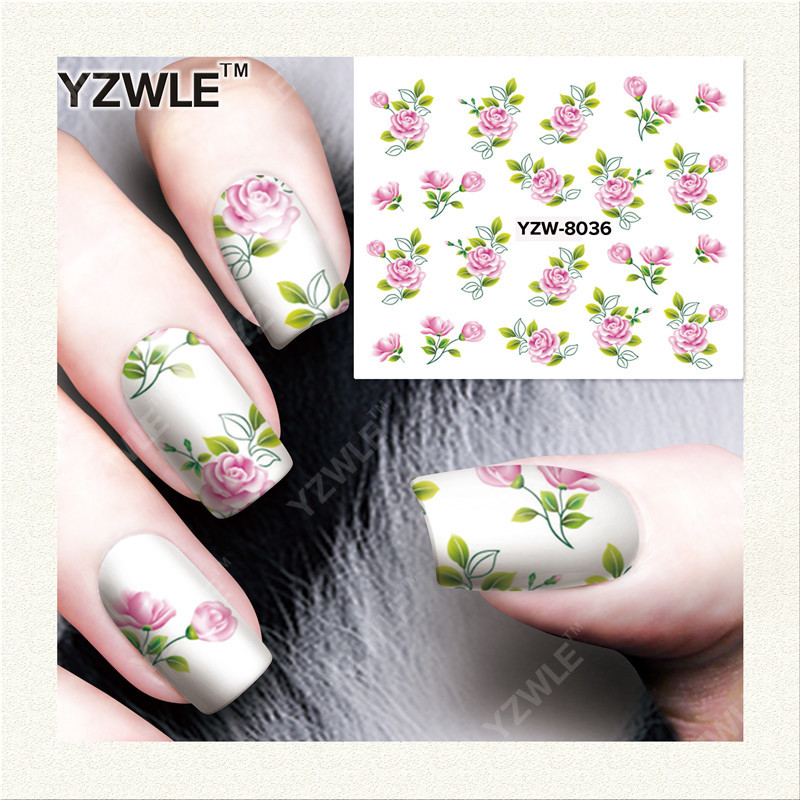 YWK  1 Sheet DIY Designer Water Transfer Nails Art Sticker / Nail Water Decals / Nail Stickers Accessories (YZW-8036) 1pcs water nail art transfer nail sticker water decals beauty flowers nail design manicure stickers for nails decorations tools