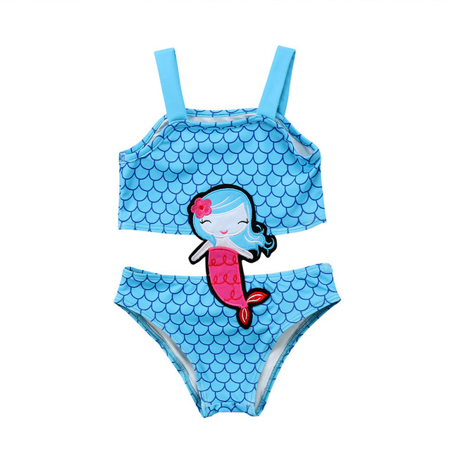 ea7c5b5392f44 Cute Kids 2018 NEW Summer One Piece Bikini swimwear Baby girls embroidery  High waist Blue BeachWear Biquini Children swimsuits