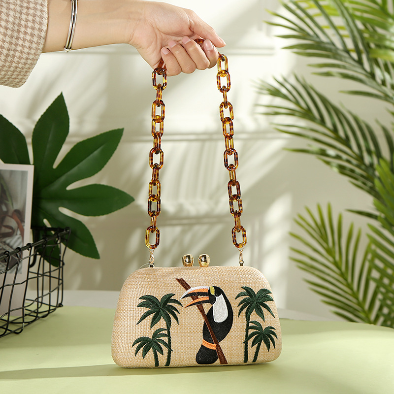 2019 New Straw Chain Shoulder Bag European and American Style Ladies Bag Bird Small Square Bag Retro Evening Bag2019 New Straw Chain Shoulder Bag European and American Style Ladies Bag Bird Small Square Bag Retro Evening Bag