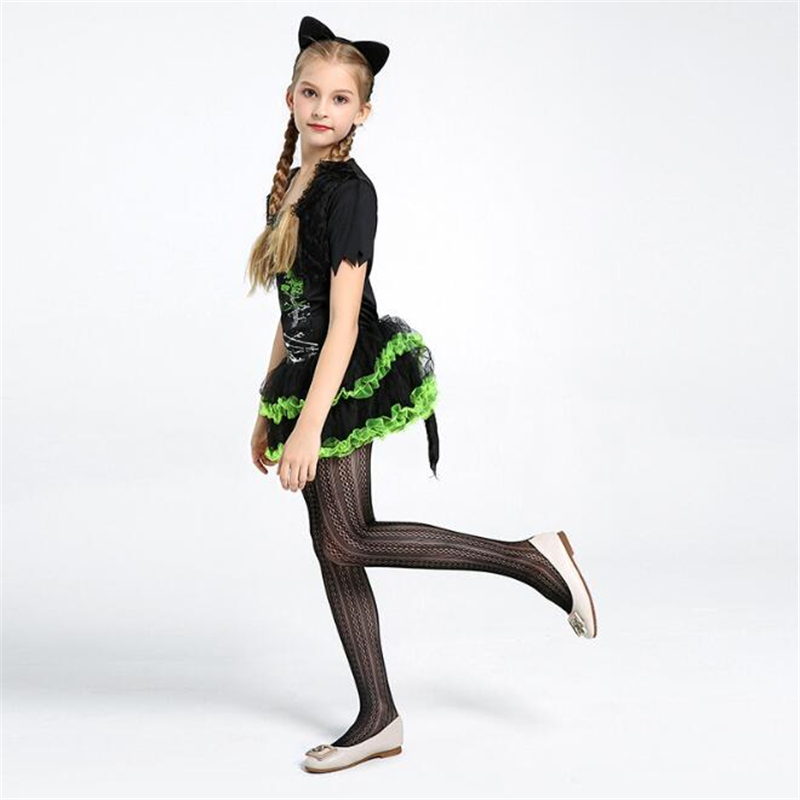 Fancy Girls Black Cat Costume Halloween Kids Animal Children Party Cosplay Clothing