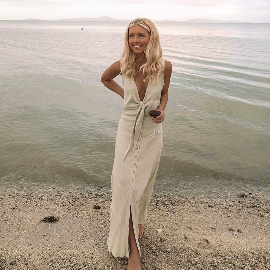 Hot Women Casual Deep V - Neck Sleeveless Tie Front Dress Summer Evening Party Fashion Beach Holiday Slimmer Loose Long Dress