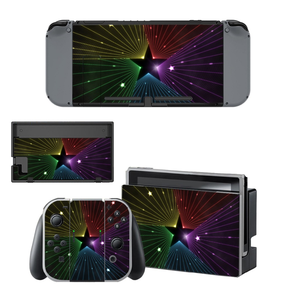 Custom Design Star Decal Vinyl Skin Sticker for Nintendo Switch NS Console + Controller Stand Holder Protective
