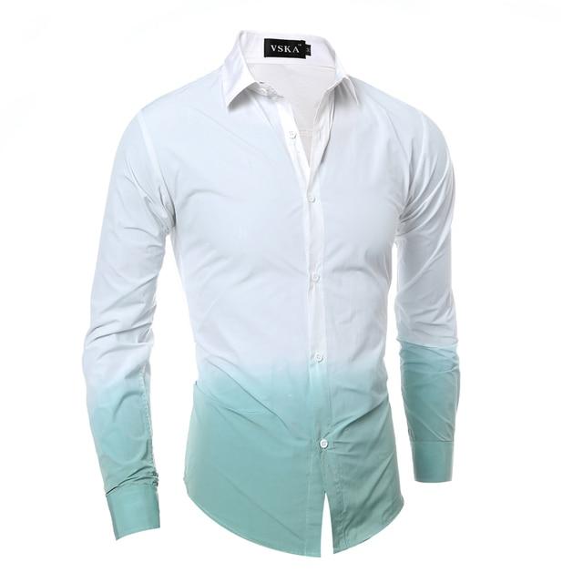 Brand 2017 Men'S Fashion Chemise Homme 3D Tie-Dye Gradient Chemise Homme Men Shirt Leisure Camisa Masculina 2XL