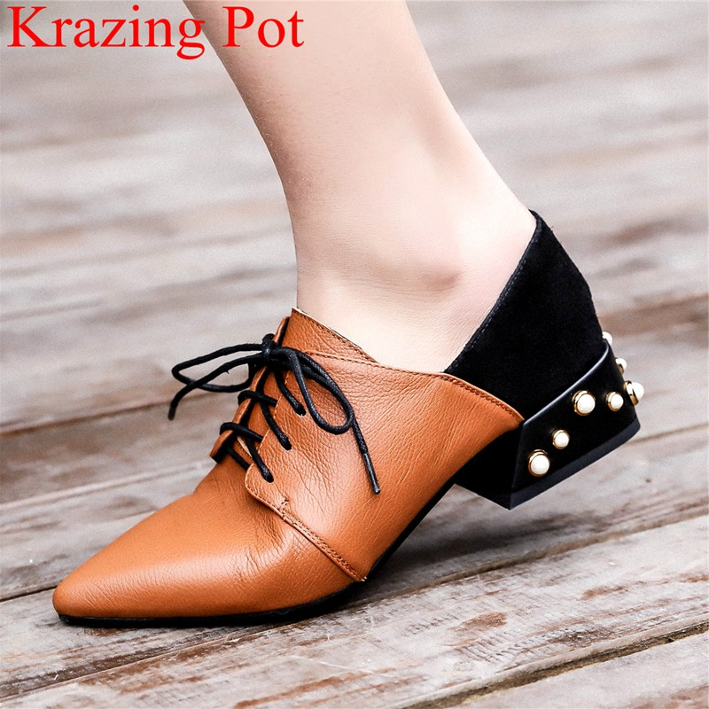 2018 superstar lace up big size med heels strange style cow leather women pumps elegant pointed toe office lady party shoes L89 chic elegant lady style bow lace up embellished folding soft straw hat for women