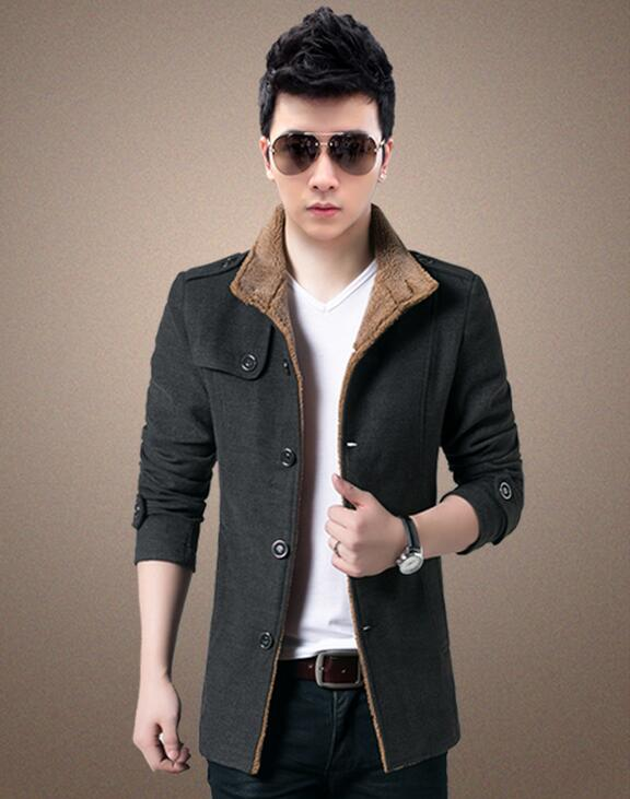 HOT 2019 Qiu Dong Male New outfit overcoat woolen cloth cloth Jacket coat with velvet with thick dust Coat
