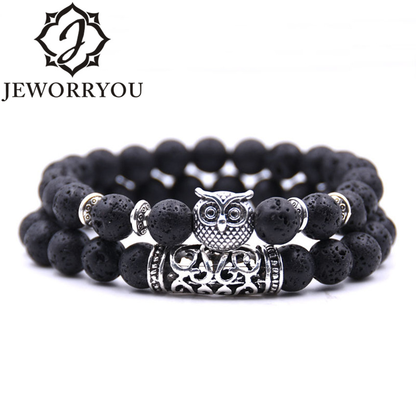 8mm 16 Colors 2Pcs/set Owl Lava Stone Bracelet Set Tiger Eyes Stone Bracelet Homme Couple Charms Friendship Bracelets & Bangles new men bracelet 8mm tiger eye stone