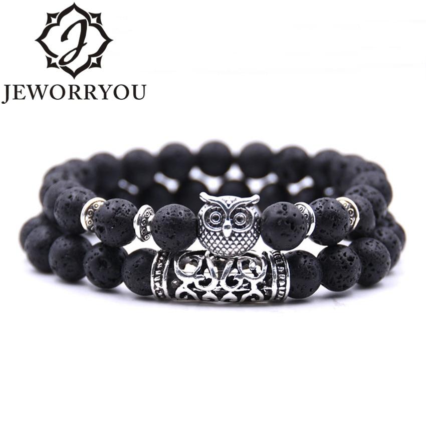 8mm 16 Colors 2Pcs/set Owl Lava Stone Bracelet Set Tiger Eyes Stone Bracelet Homme Couple Charms Friendship Bracelets & Bangles