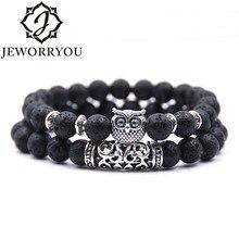 8mm 16 Colors 2Pcs/set Owl Lava Stone Bracelet Set Tiger Eyes Homme Couple Charms Friendship Bracelets & Bangles