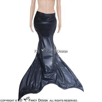 Черная пикантная латексная Русалка с молнией сзади и хвостом резиновая Русалка морская горничная облегающая одежда для девушек