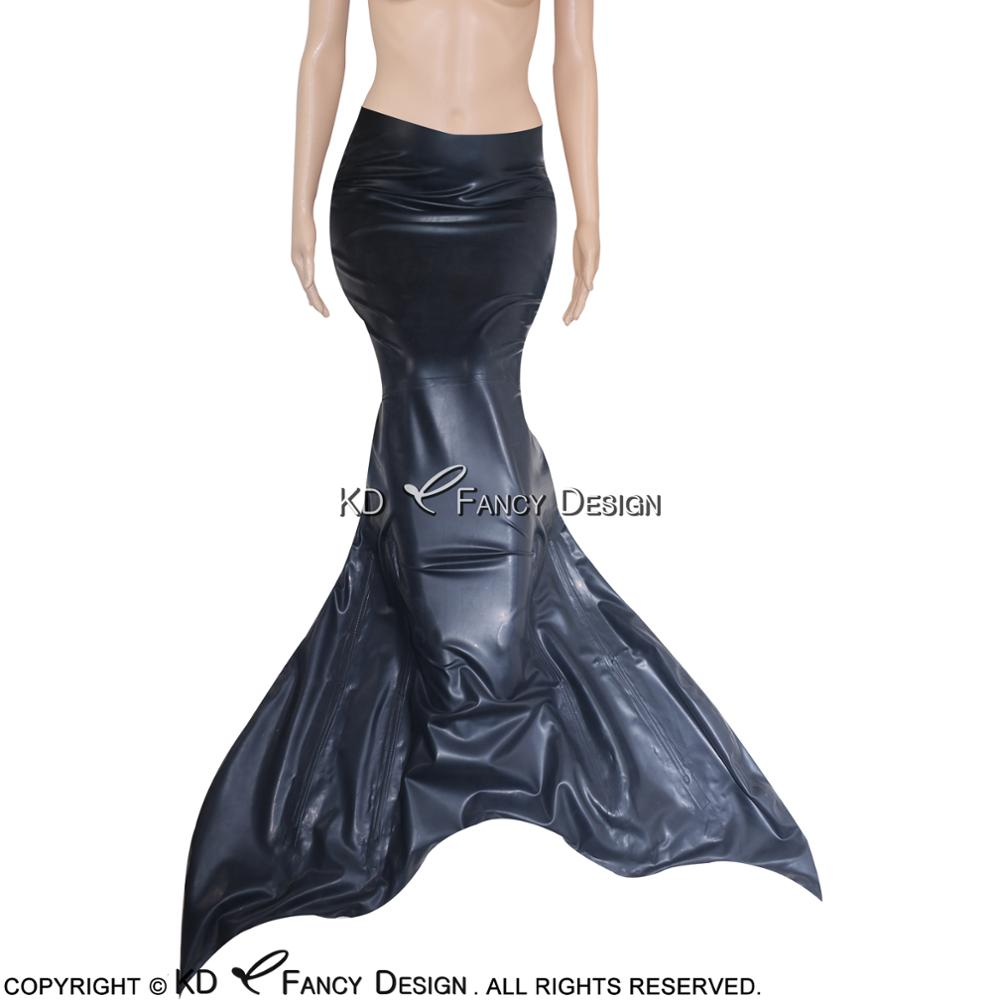 Black Sexy Latex Mermaid With Zipper At Back And Tail Rubber Mermaid Sea-maid Sea-maiden Bodycon Playsuit LTY-0022