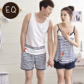Summer Couples 100% Cotton Male Or Female Brief Stripe Vest Strap Shorts Lounge Pajama