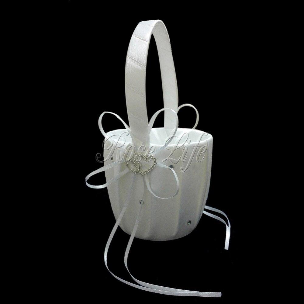 White Flower Girl Baskets For Wedding Favors Basket Bridesmaid Petal