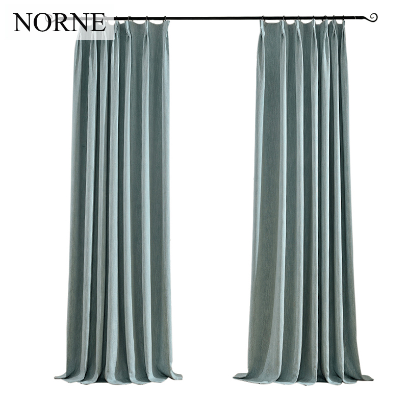 NORNE Solid Faux Linen Blackout Curtain Thermal Insulated Drapes Noise Blocking Window Curtains Blinds for Bedroom Living Room in Curtains from Home Garden