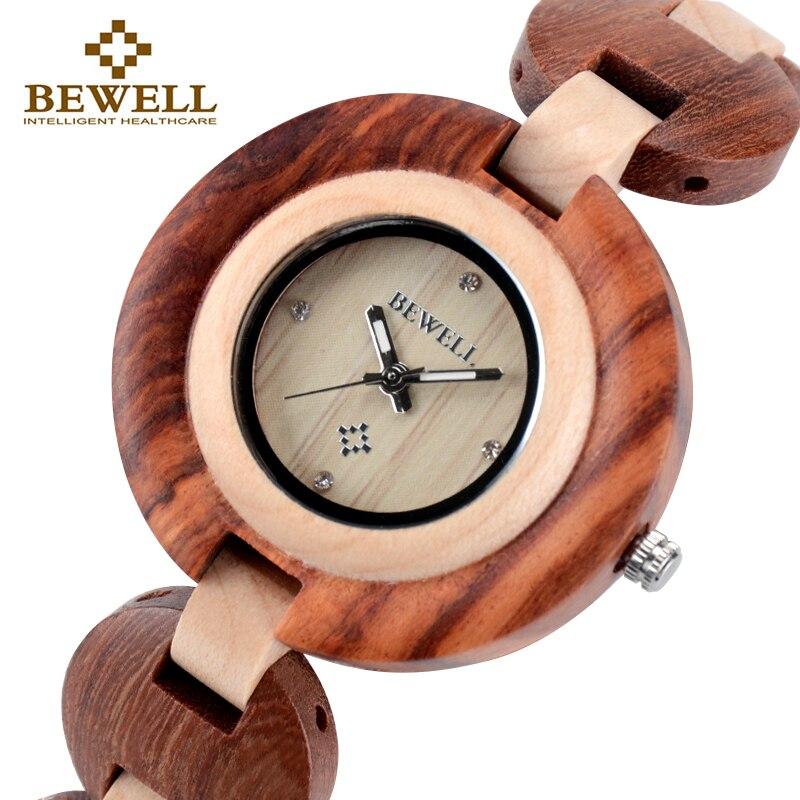 BEWELL Wood Women Watches Small Dial Womens Wooden Watch Luxury Top Brand Quartz Clock Relogio Feminino Wristwatch Paper Box 010