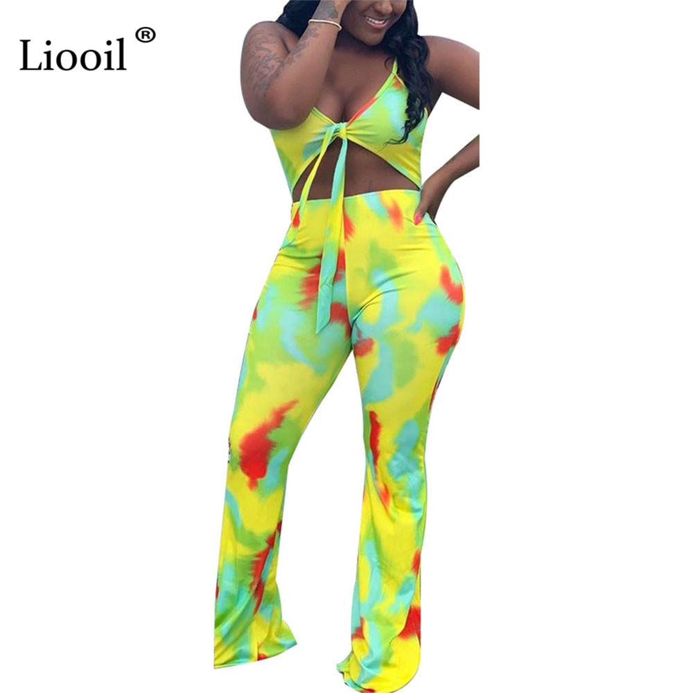 Liooil New Arrival 2019 Tie Dye Sexy Jumpsuit Clubwear Hollow Out Spaghetti Strap Romper Party Plus Size Rompers Womens Jumpsuit