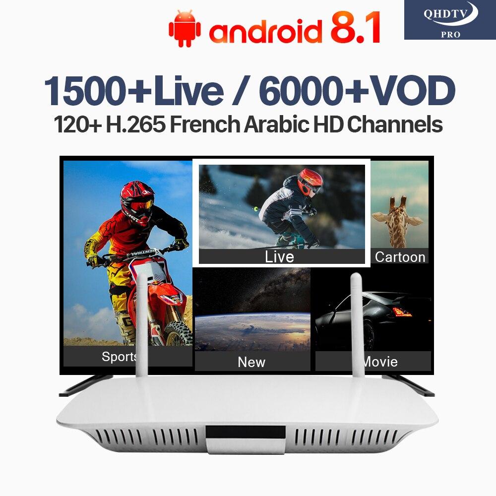 IPTV France Belgium Android 8.1 TV Receivers Q1404 QHDTV Pro IPTV Subscription 1 Year 4K IPTV French Belgium Arabic Dutch IP TV belgium belgien 1 300 000