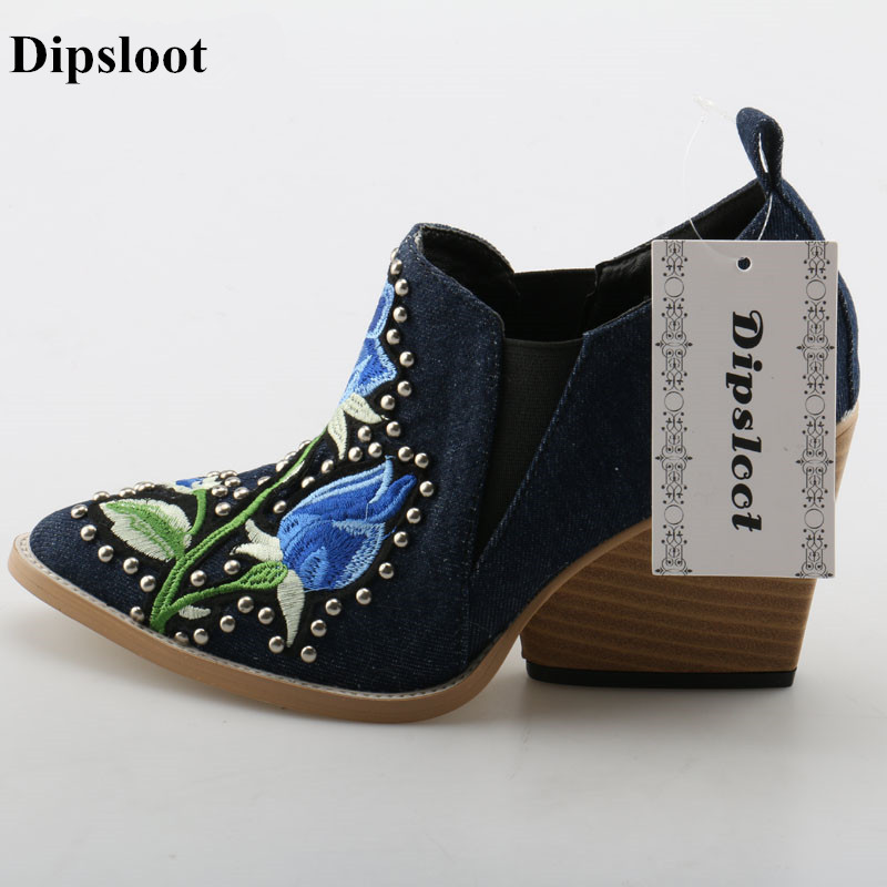 Dipsloot Lady Sweety Rose Embroidery Slip-on Pumps Woman Rivets Decorated Square High Heels Dress Shoes Woman Pointed Toe Shoes vintage embroidery decorated ring
