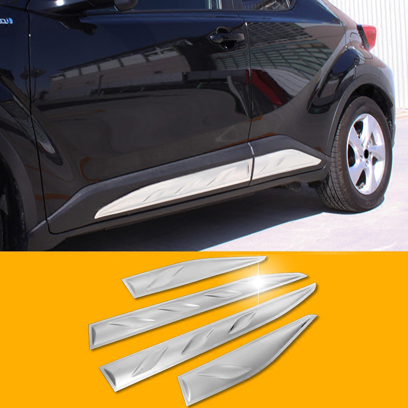 For Toyota C-HR CHR 2016 2017 2018 Car Side Door Body Molding Cover Trim Exterior Auto Accessories Car styling stainless steel door side body garnish molding cover trim for toyota rav4 2014 2017 exterior decor strip car styling accessories