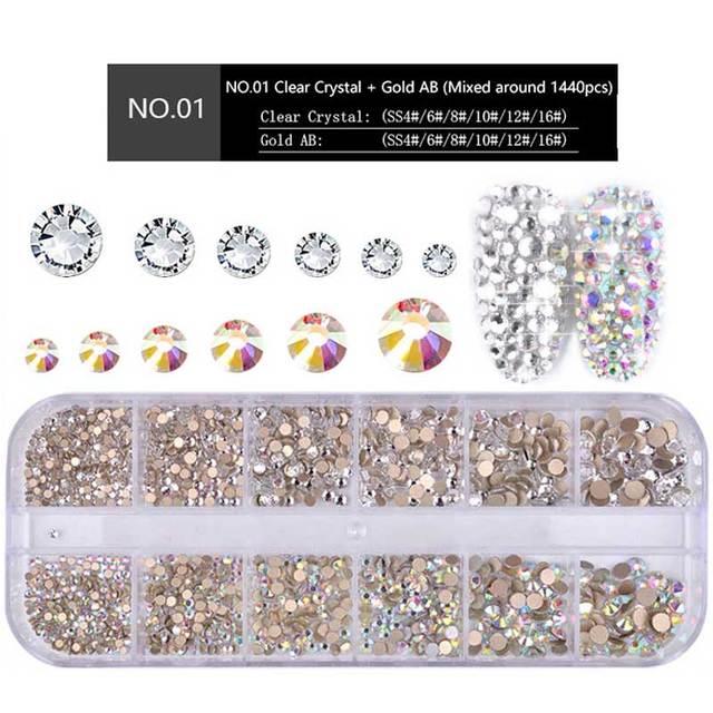1 Box Multi Size Glass Nail Rhinestones Mixed Colors Flat-back AB Crystal Strass 3D Charm Gems DIY Manicure Nail Art Decorations 1