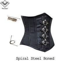 Wechery Steampunk corsé sexo gótico entrenador cintura corsé Bustiers encaje hasta cuero Retro negro ramillete acero hueso Corselet camisetas