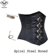 Wechery steampunk 코르셋 섹스 고딕 코르셋 허리 트레이너 bustiers 레이스 업 레트로 블랙 코사지 스틸 뼈 corselet 탑스