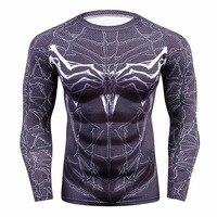 ملابس لياقة بدنية لعام 2019 قمصان رجالي مضغوطة ثلاثية الأبعاد مطبوعة قمصان طويلة الأكمام من Raglan ملابس تنكرية للرجال-في تي شيرتات من ملابس الرجال على