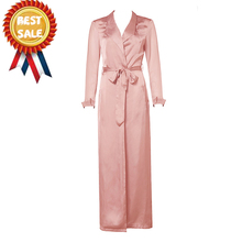 New Arrivals Khaki Long Sleeve Long Sleeves Blusa Silk Women Duster Coat Modern Clothing Whoelsale HL