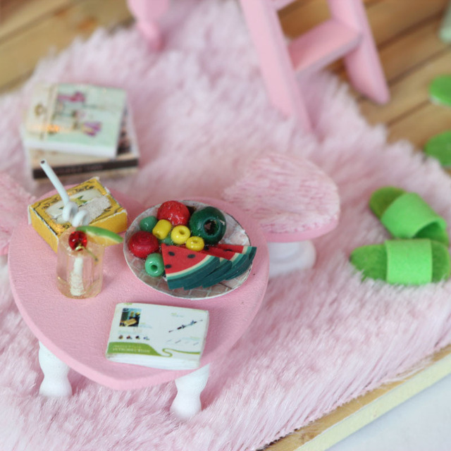 DIY Wooden Handmade Doll house Miniature DIY Kit - Cute Girl's Bedroom & Furnitures/English instruction