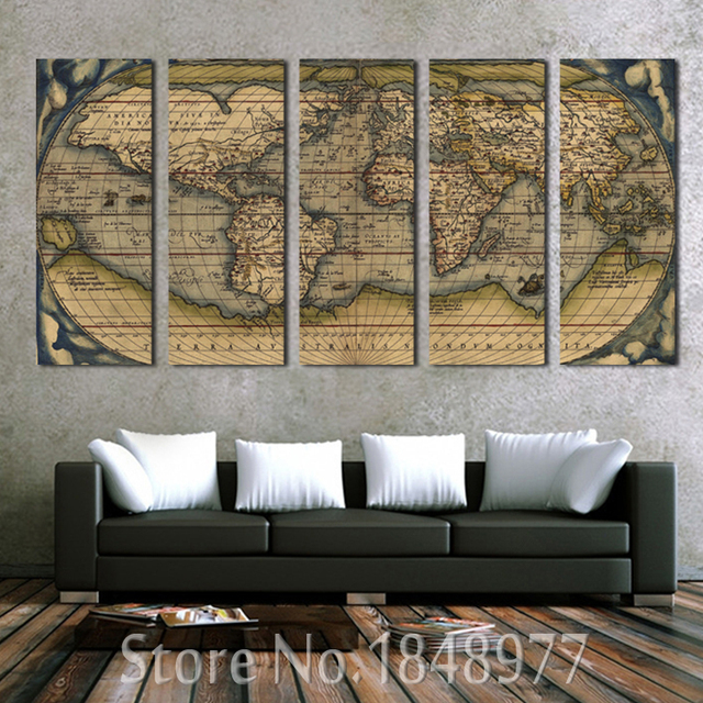 5 panel vintage world map canvas painting oil painting print on 5 panel vintage world map canvas painting oil painting print on canvas home decor wall art gumiabroncs Choice Image