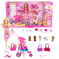 Barbie Authorize Brand Shopping Girl And Pet Dog Barbie Dolls Set For Little Girl Christmas Day's Gift Barbie Boneca BCF82
