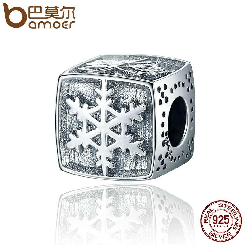 BAMOER plata esterlina 925 del diseño de la manera cuadrado temporada copo Hojas de arce pulsera aptos DIY joyería fina SCC374