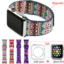 Fashion Bohemian Leather Loop Watchband for iwatch bands Strap Magnetic Stainless steel Buckle for Apple Watch